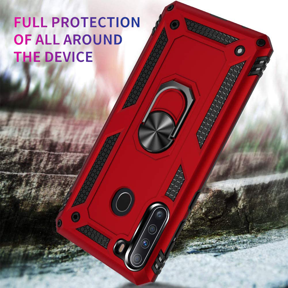 thumbnail 15 - For Samsung Galaxy A21, Phone Case TJS DuoGuard Ring Holder Cover+Tempered Glass