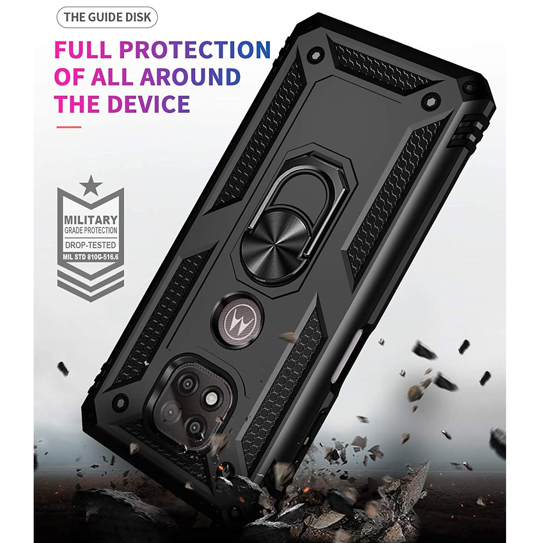 thumbnail 11 - For Motorola Moto G Power (2021), Case TJS DuoGuard Ring Holder+Tempered Glass