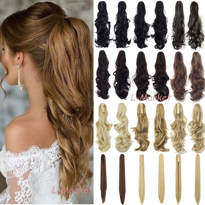 Mega Thick Claw Clip in Ponytail Tail Synthetic Hair Extensi