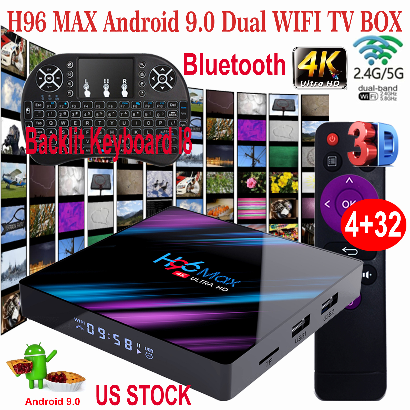 H96 MAX Android 9.0 US 4+32G Keyboard I8 TV BOX Dual WIFI BT4.0 Quad Core H.265 Featured