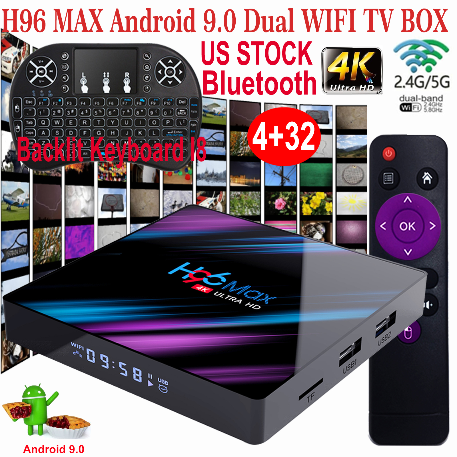 H96 MAX 4+32G Android 9.0 Keyboard TV BOX Quad Core Dual WIFI BT H.265 3D Movies android box core dual h96 keyboard max movies quad wifi