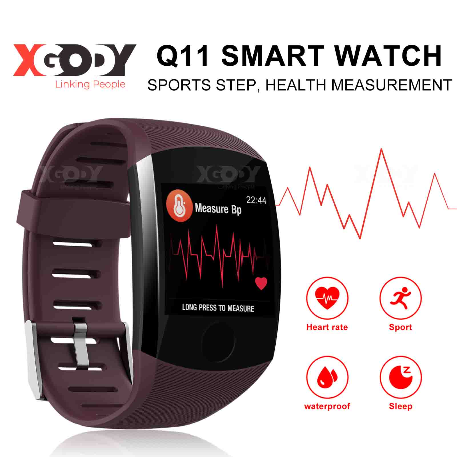 XGODY Smart Watch Bracelet Heart Rate Monitor Health Steps A
