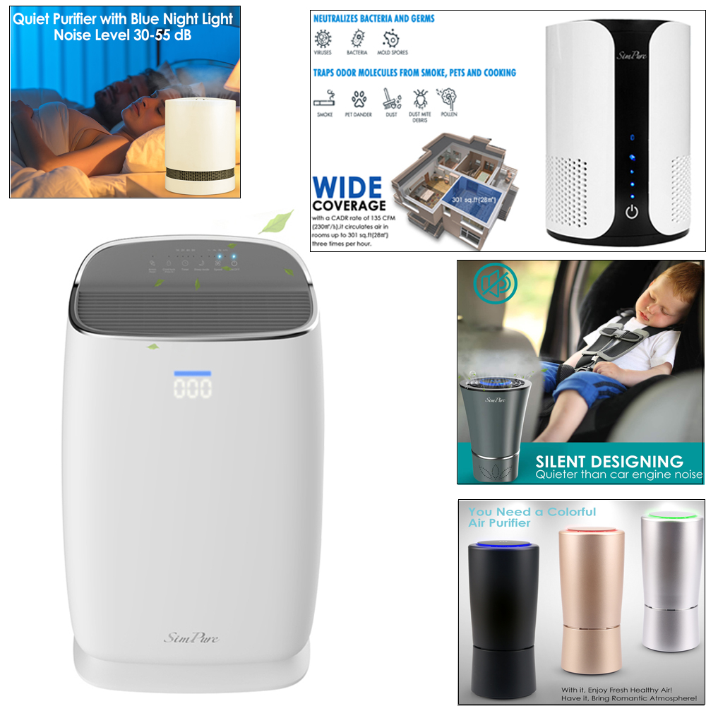Air Purifier Large Room Portable Hepa Filter Allergies Smoke