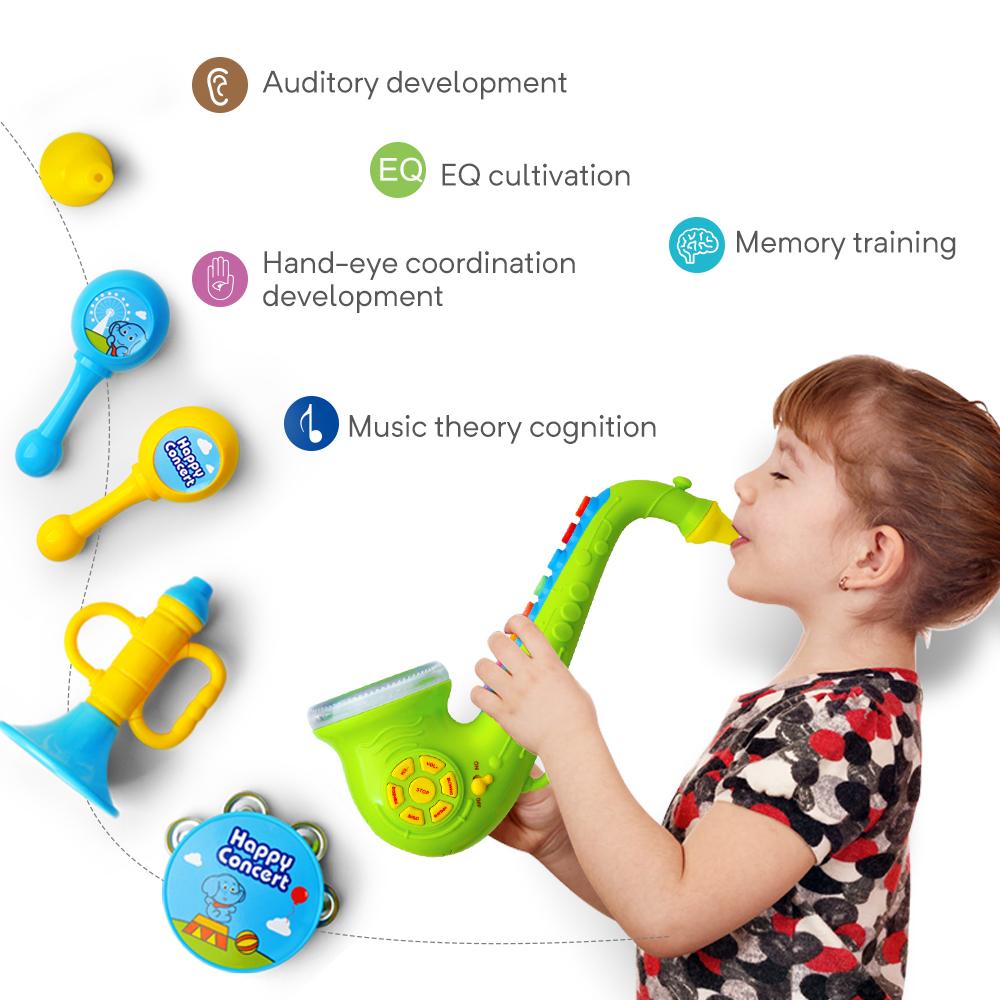 Set of Musical Instruments Toys Play Kids Saxophone Trumpet Horn Maraca Rattles