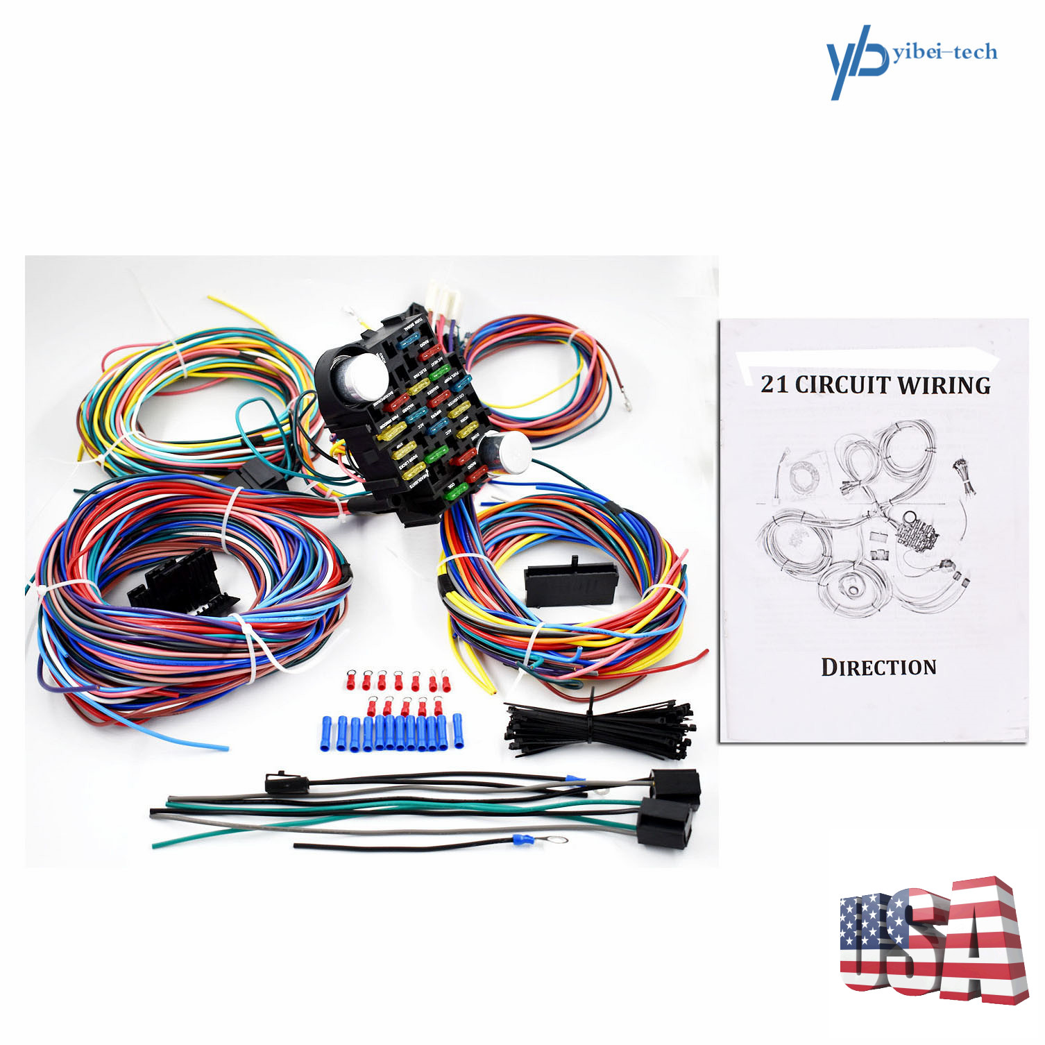 21 Circuit Wiring Harness For Chevy Mopar Ford hotrods Universal X-long  wires US