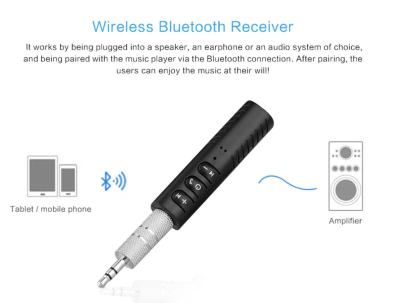 3.5MM Wireless Bluetooth Receiver Audio Music Adapter Aux Receptor