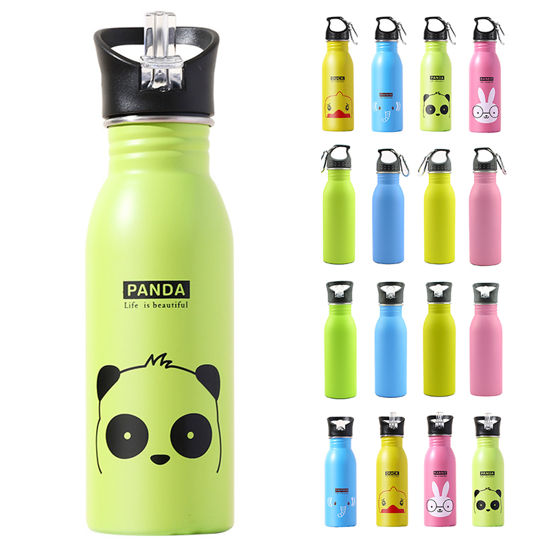 17oz Cartoon Stainless Steel Water Bottle Single-lay Cup Lea