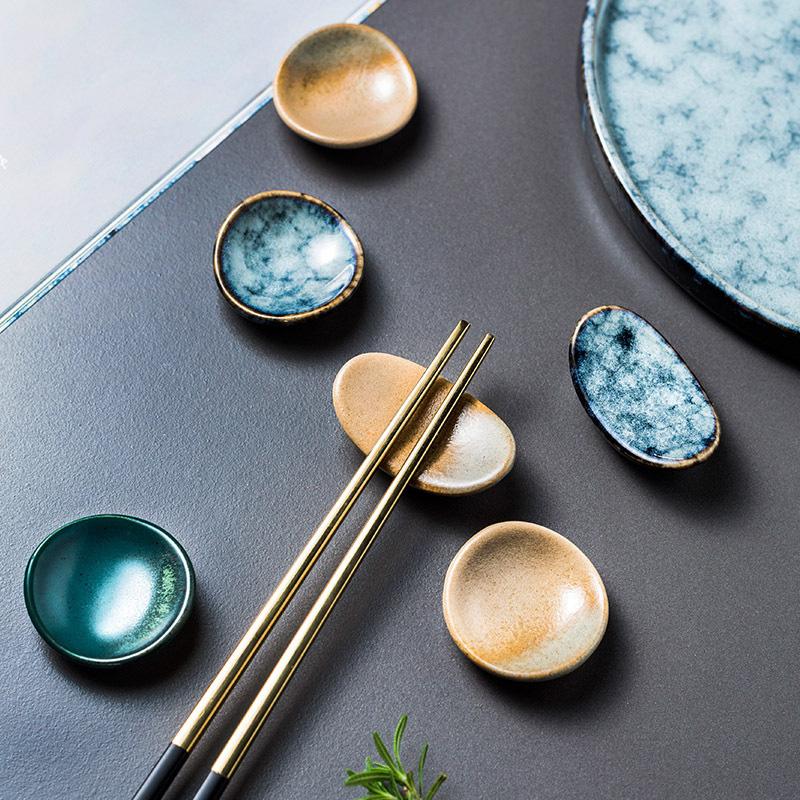 1x-Chopsticks-Holder-Stand-Ceramic-Glaze-Spoon-Fork-Rest-Tableware-Reusable
