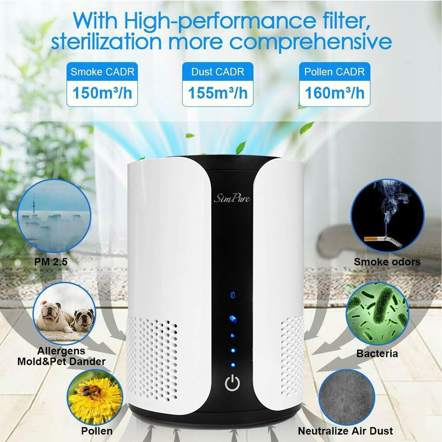SimPure® Large room Air Purifiers True HEPA Filter for Smok