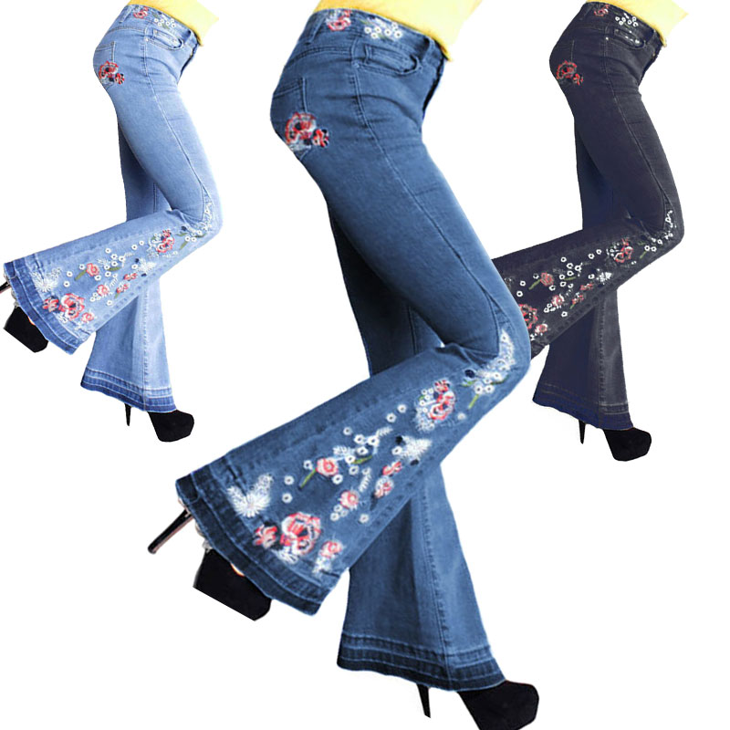 Details about Plus Size Women Flare Denim Embroider Jeans Bell Bottom  Stretch Pants Trousers