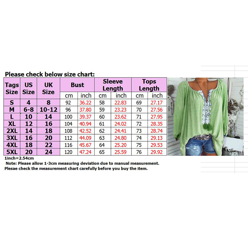 Boho-Women-Long-Sleeve-Kaftan-Baggy-Blouse-T-Shirt-Tops-Casual-Tunic-Plus-Size thumbnail 20