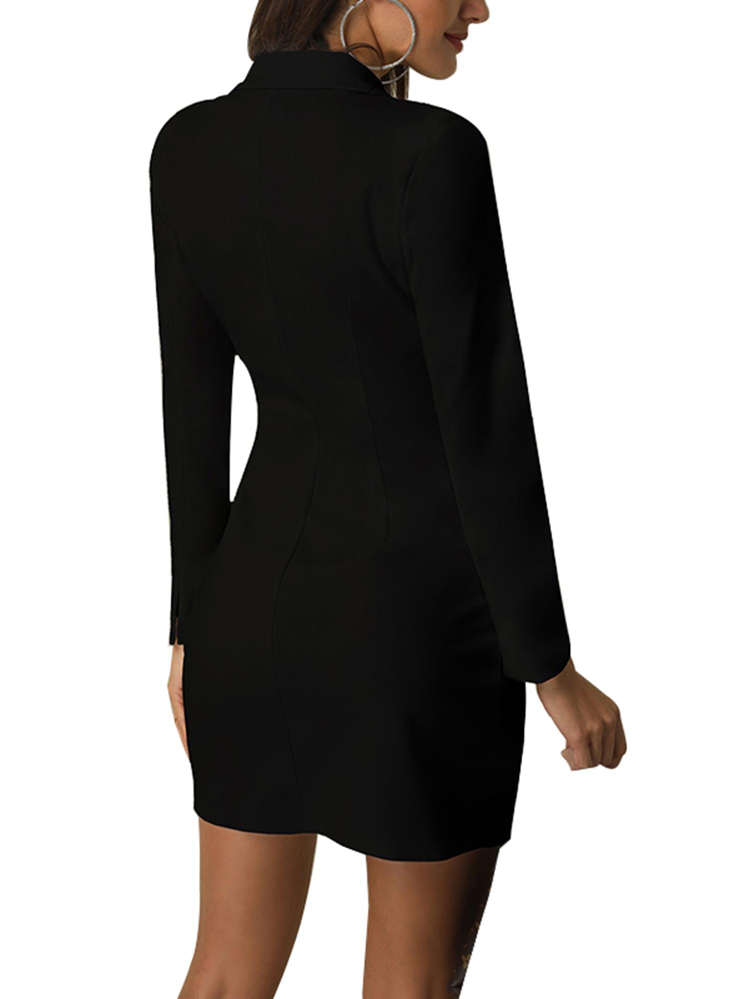 Vintage-Women-Double-Breasted-Plaid-Long-Blazer-Ladies-Jackets-Suits-Coat-Pocket miniatura 15