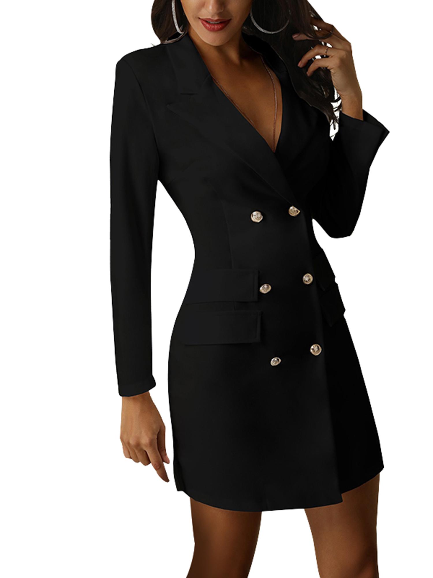 Vintage-Women-Double-Breasted-Plaid-Long-Blazer-Ladies-Jackets-Suits-Coat-Pocket miniatura 17