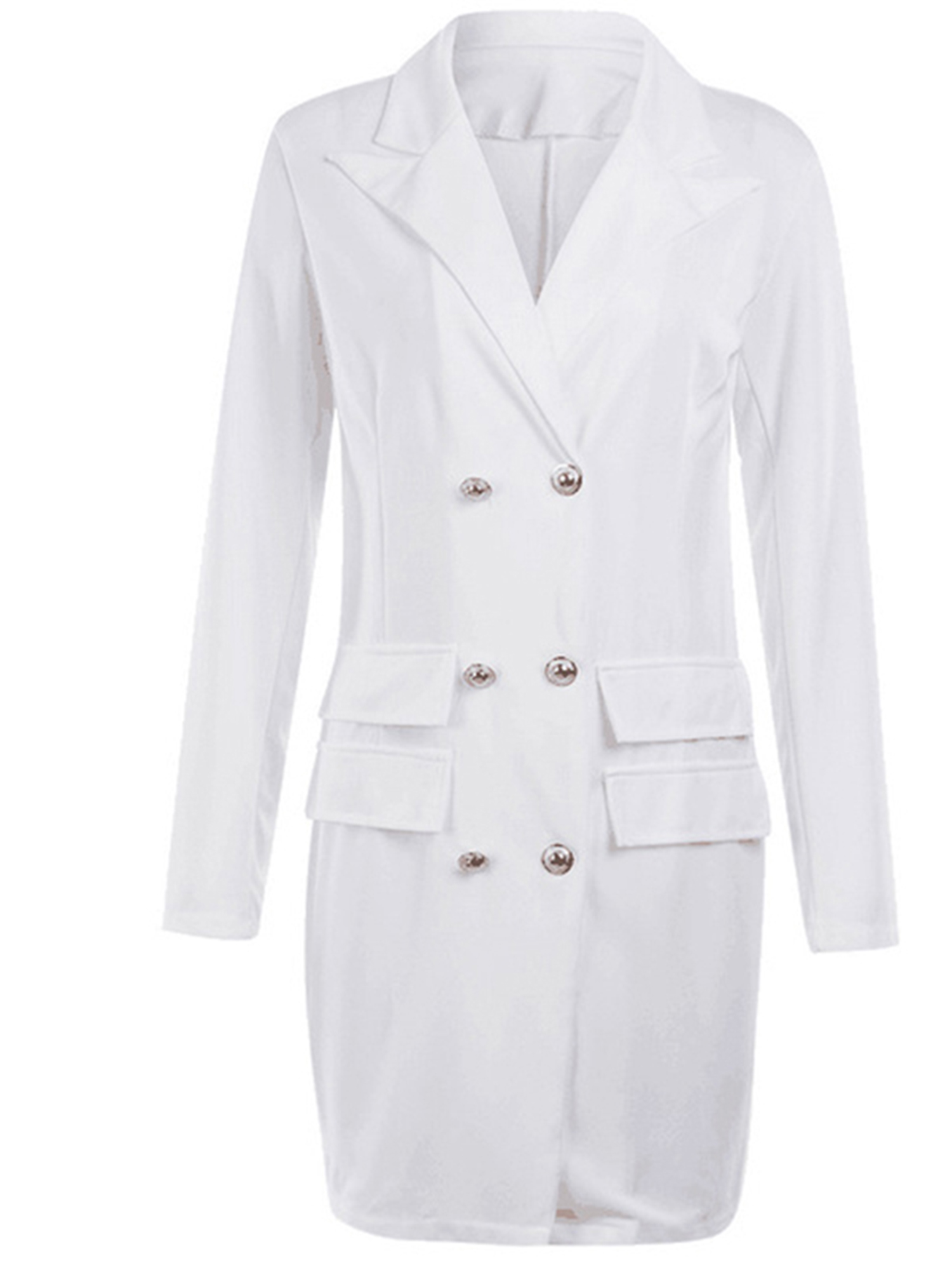 Vintage-Women-Double-Breasted-Plaid-Long-Blazer-Ladies-Jackets-Suits-Coat-Pocket miniatura 20