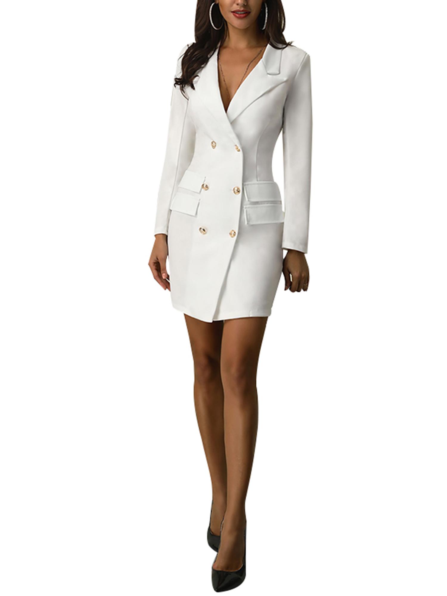 Vintage-Women-Double-Breasted-Plaid-Long-Blazer-Ladies-Jackets-Suits-Coat-Pocket miniatura 23