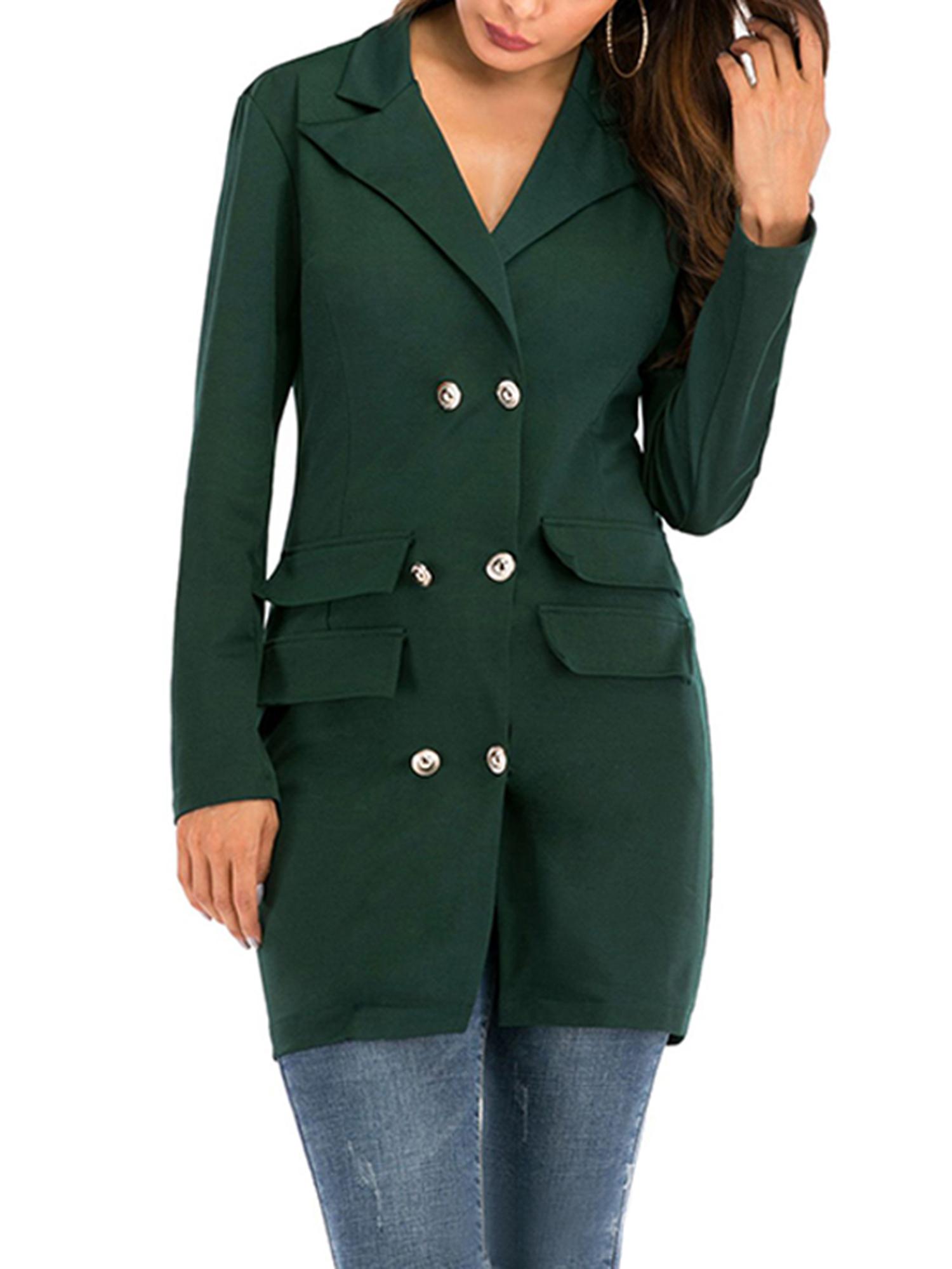 Vintage-Women-Double-Breasted-Plaid-Long-Blazer-Ladies-Jackets-Suits-Coat-Pocket miniatura 27