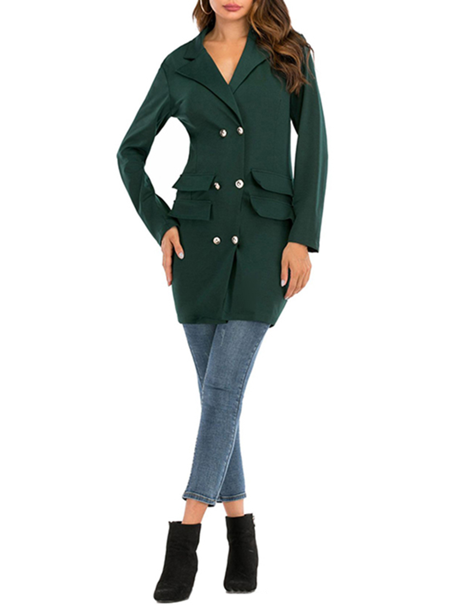 Vintage-Women-Double-Breasted-Plaid-Long-Blazer-Ladies-Jackets-Suits-Coat-Pocket miniatura 28