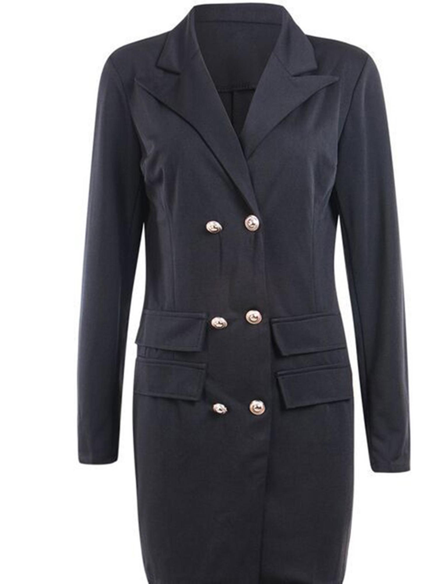 Vintage-Women-Double-Breasted-Plaid-Long-Blazer-Ladies-Jackets-Suits-Coat-Pocket miniatura 32