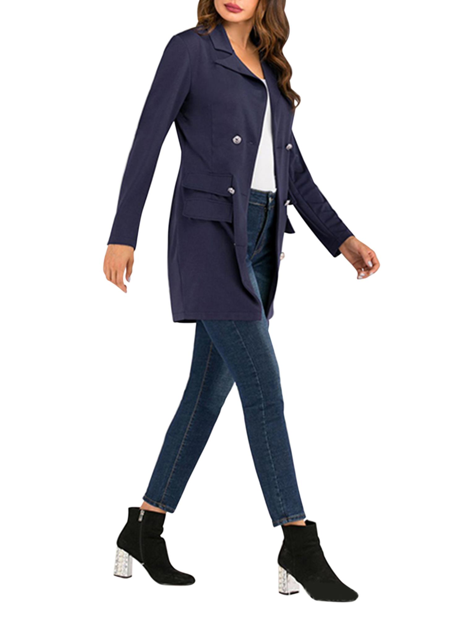 Vintage-Women-Double-Breasted-Plaid-Long-Blazer-Ladies-Jackets-Suits-Coat-Pocket miniatura 34