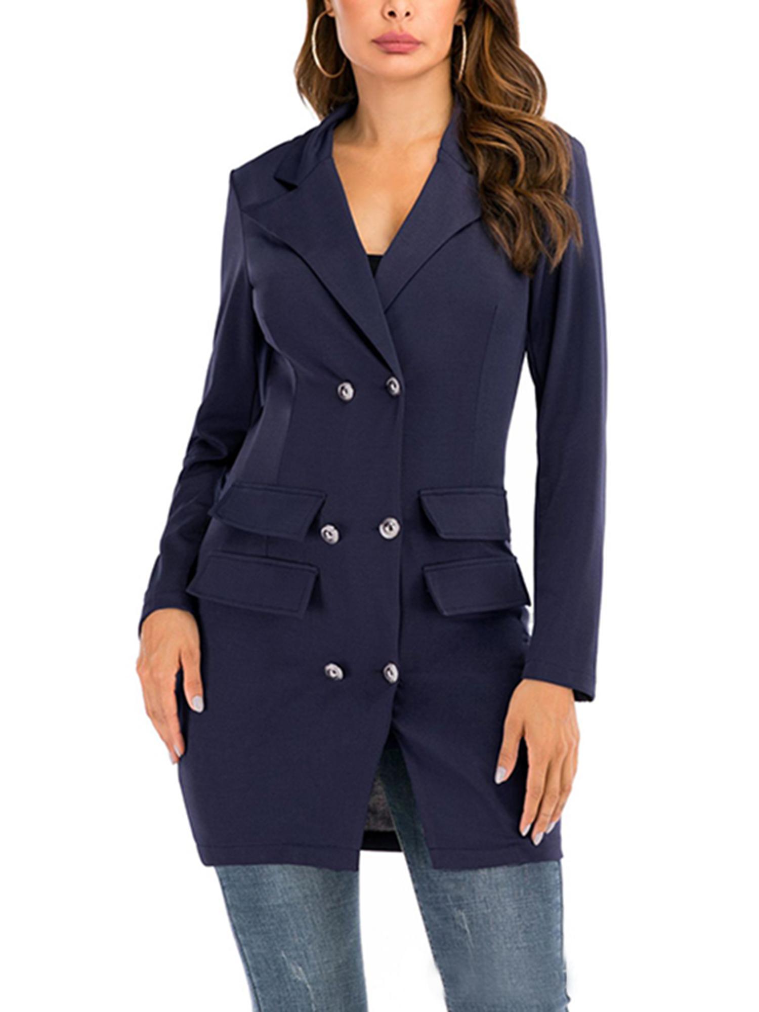 Vintage-Women-Double-Breasted-Plaid-Long-Blazer-Ladies-Jackets-Suits-Coat-Pocket miniatura 35