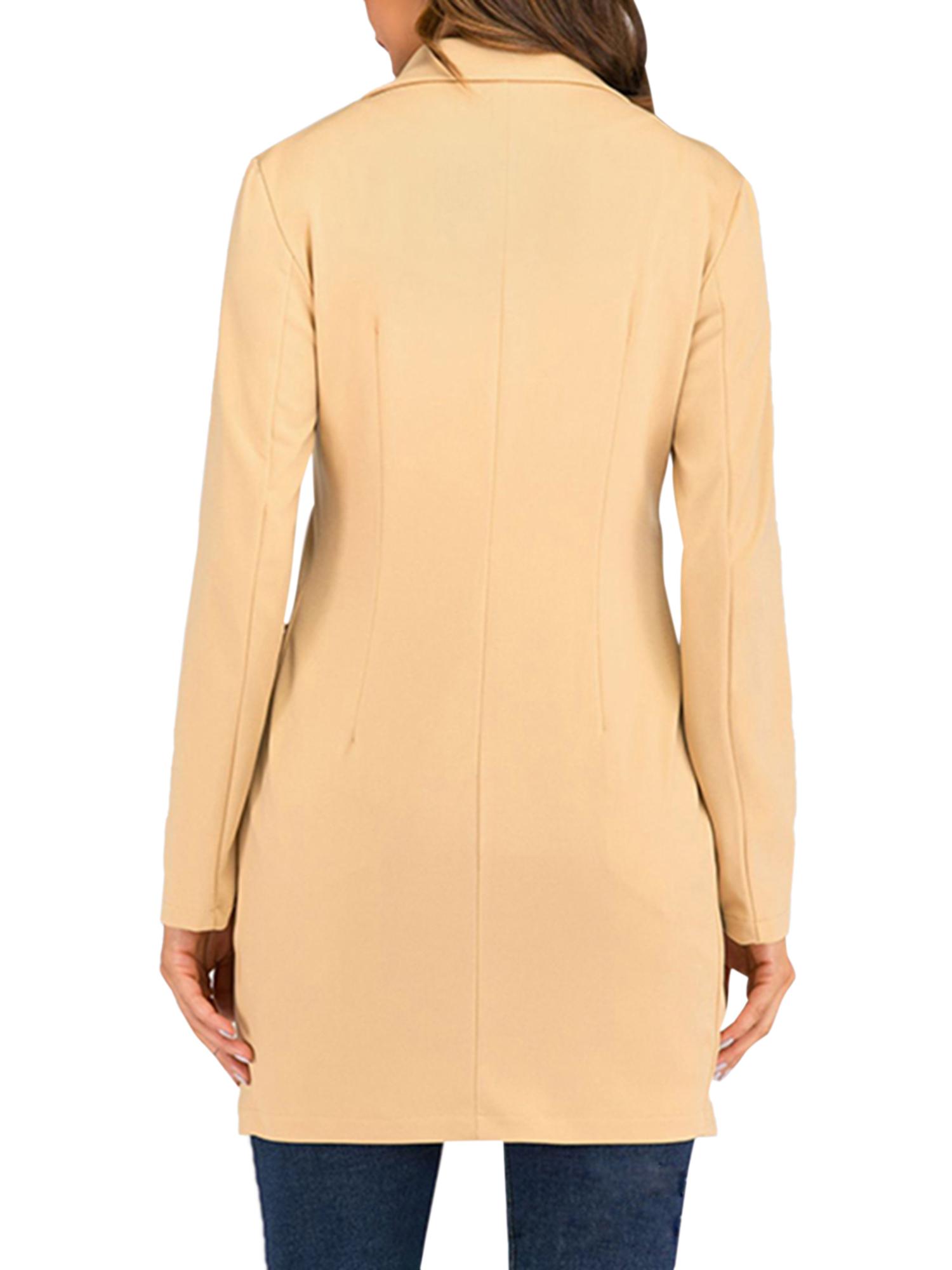 Vintage-Women-Double-Breasted-Plaid-Long-Blazer-Ladies-Jackets-Suits-Coat-Pocket miniatura 38