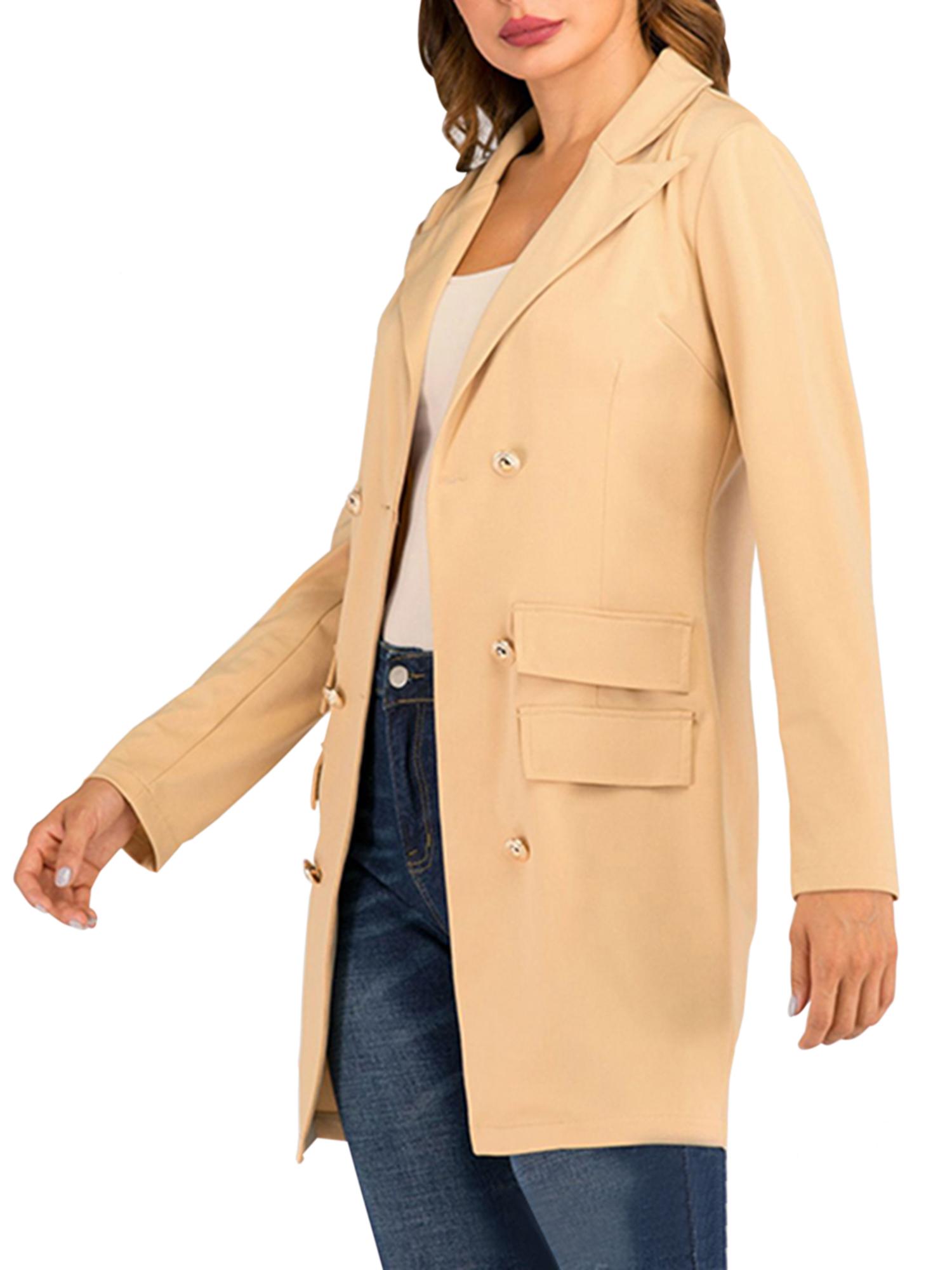 Vintage-Women-Double-Breasted-Plaid-Long-Blazer-Ladies-Jackets-Suits-Coat-Pocket miniatura 39