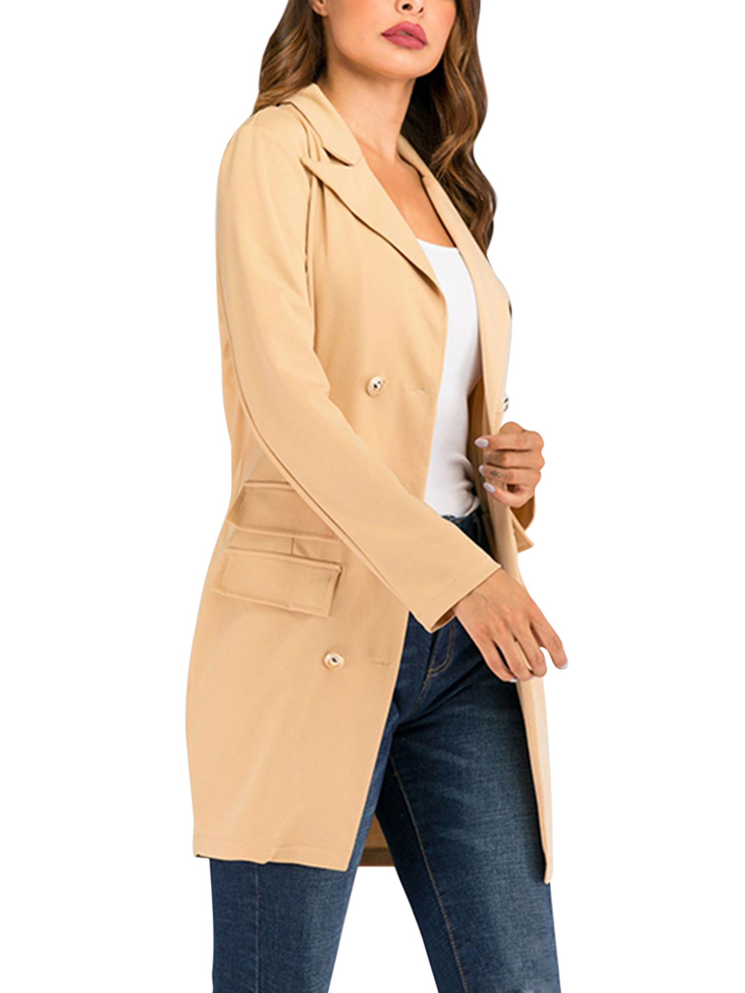 Vintage-Women-Double-Breasted-Plaid-Long-Blazer-Ladies-Jackets-Suits-Coat-Pocket miniatura 40