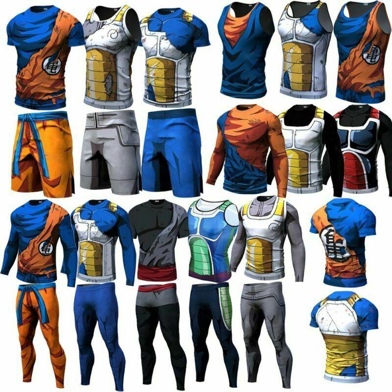 Son Goku Men Dragon Ball Z Tank Vest Short Long Sleeve T Shirt Trousers Costume