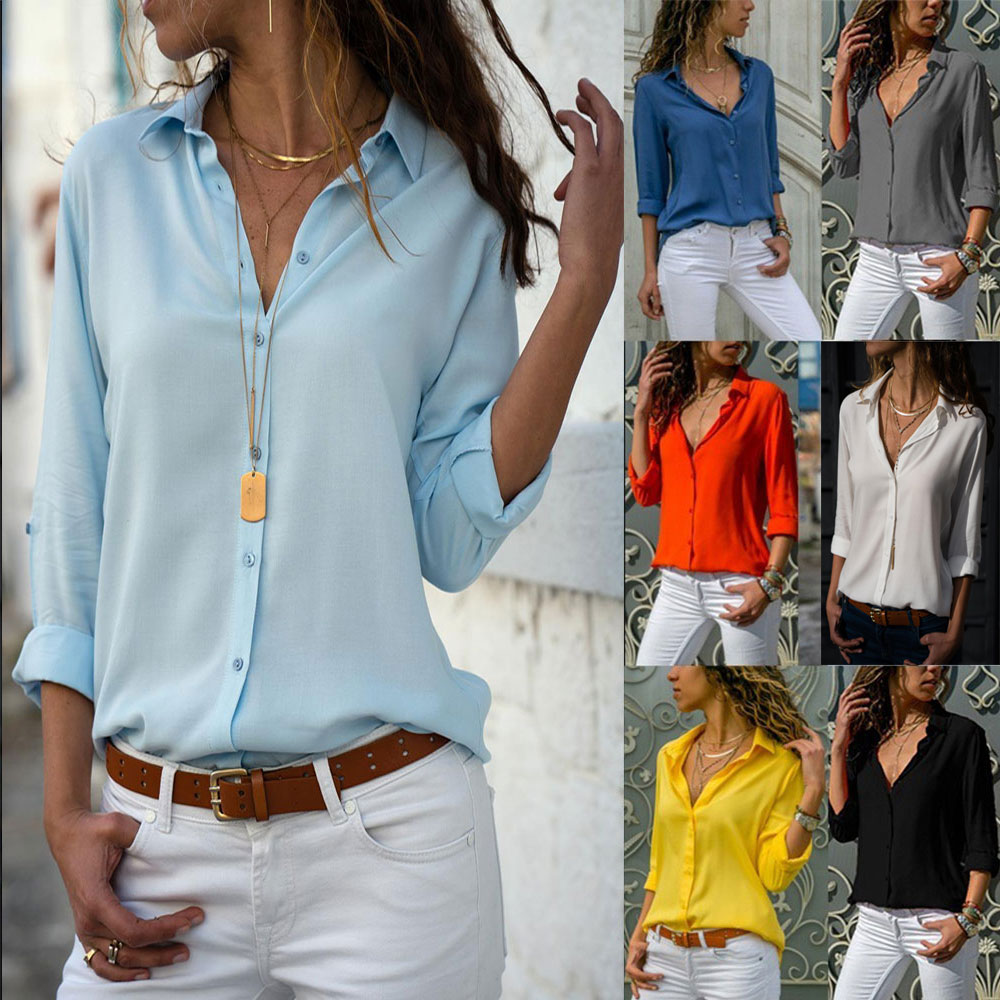 V Neck Solid Cuffed Sleeve On Down