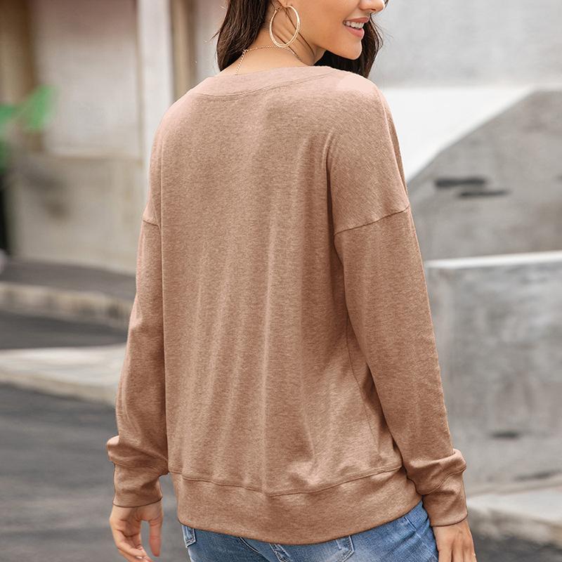 Womens-Autumn-Long-Sleeve-Tops-Ladies-Loose-Casual-Shirt-Blouse-Sweatshirt thumbnail 14