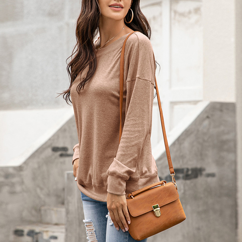 Womens-Autumn-Long-Sleeve-Tops-Ladies-Loose-Casual-Shirt-Blouse-Sweatshirt thumbnail 15