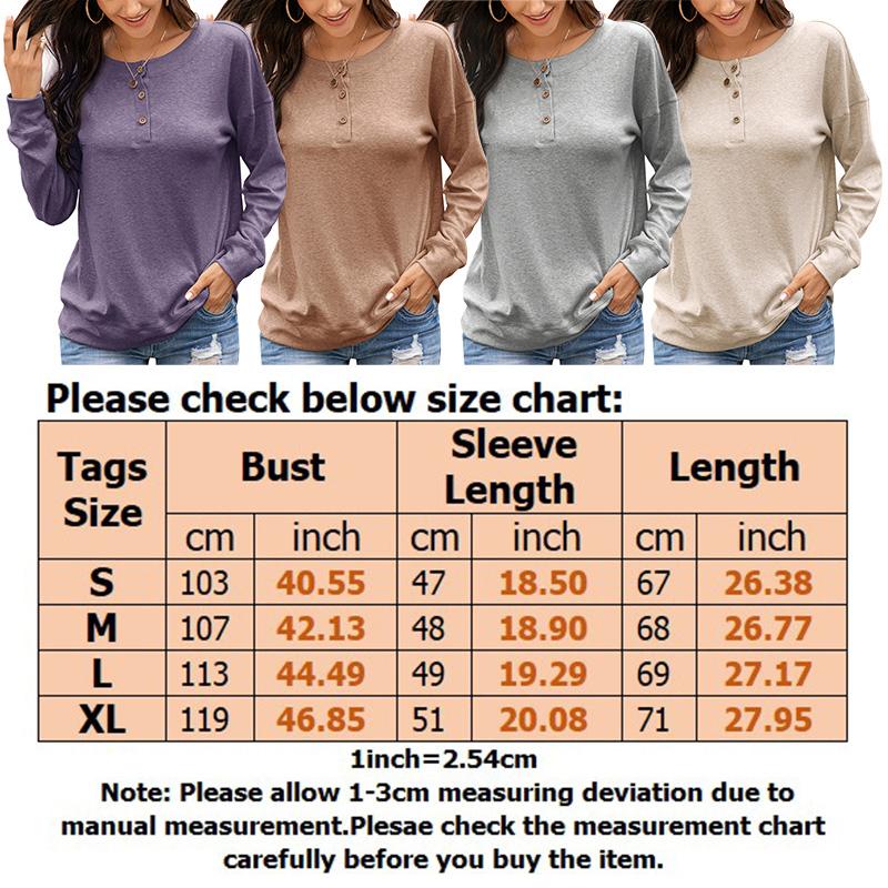 Womens-Autumn-Long-Sleeve-Tops-Ladies-Loose-Casual-Shirt-Blouse-Sweatshirt thumbnail 16
