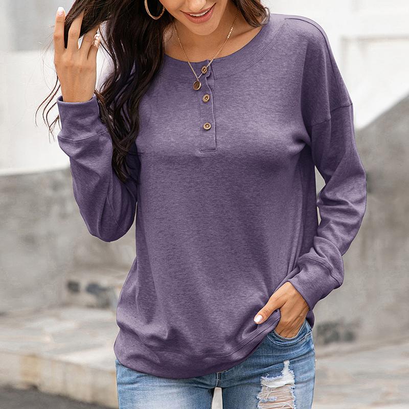 Womens-Autumn-Long-Sleeve-Tops-Ladies-Loose-Casual-Shirt-Blouse-Sweatshirt thumbnail 18