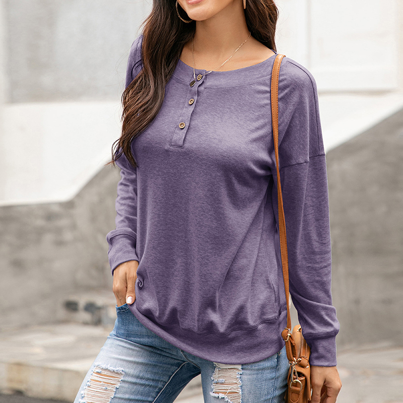 Womens-Autumn-Long-Sleeve-Tops-Ladies-Loose-Casual-Shirt-Blouse-Sweatshirt thumbnail 19