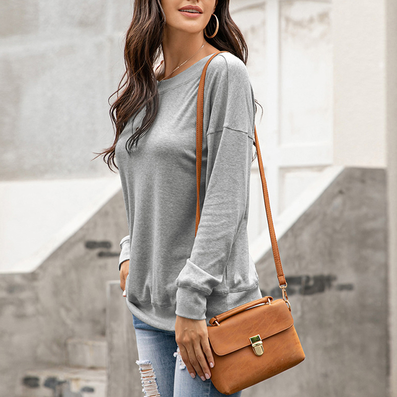 Womens-Autumn-Long-Sleeve-Tops-Ladies-Loose-Casual-Shirt-Blouse-Sweatshirt thumbnail 23