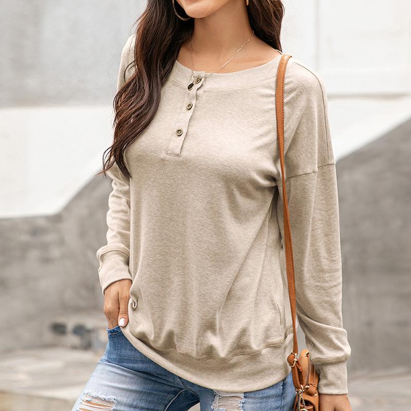 Womens-Autumn-Long-Sleeve-Tops-Ladies-Loose-Casual-Shirt-Blouse-Sweatshirt thumbnail 27