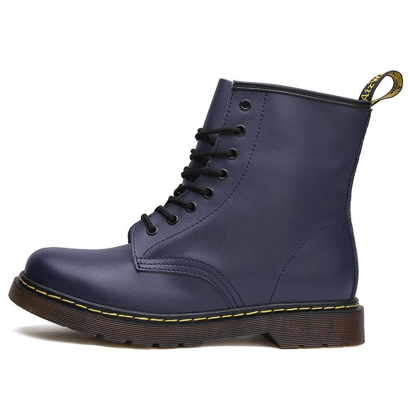 thumbnail 3 - Womens Platform Biker Boots Comfy Black Leather Punk Goth Thick Sole Ankle Shoes