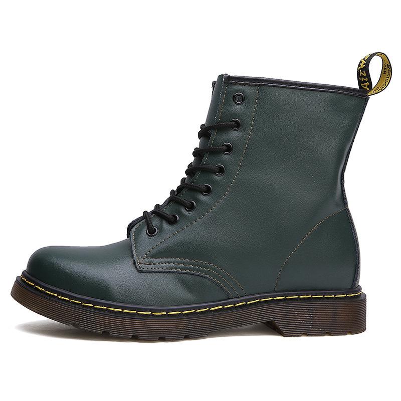 thumbnail 4 - Womens Platform Biker Boots Comfy Black Leather Punk Goth Thick Sole Ankle Shoes