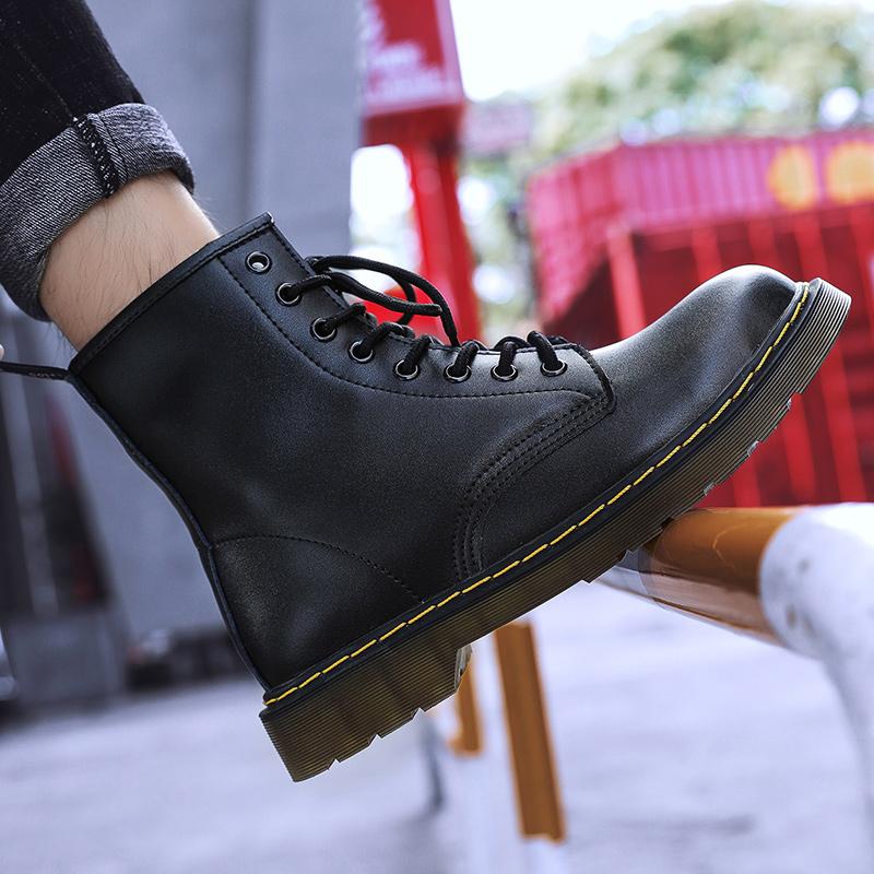 thumbnail 9 - Womens Platform Biker Boots Comfy Black Leather Punk Goth Thick Sole Ankle Shoes
