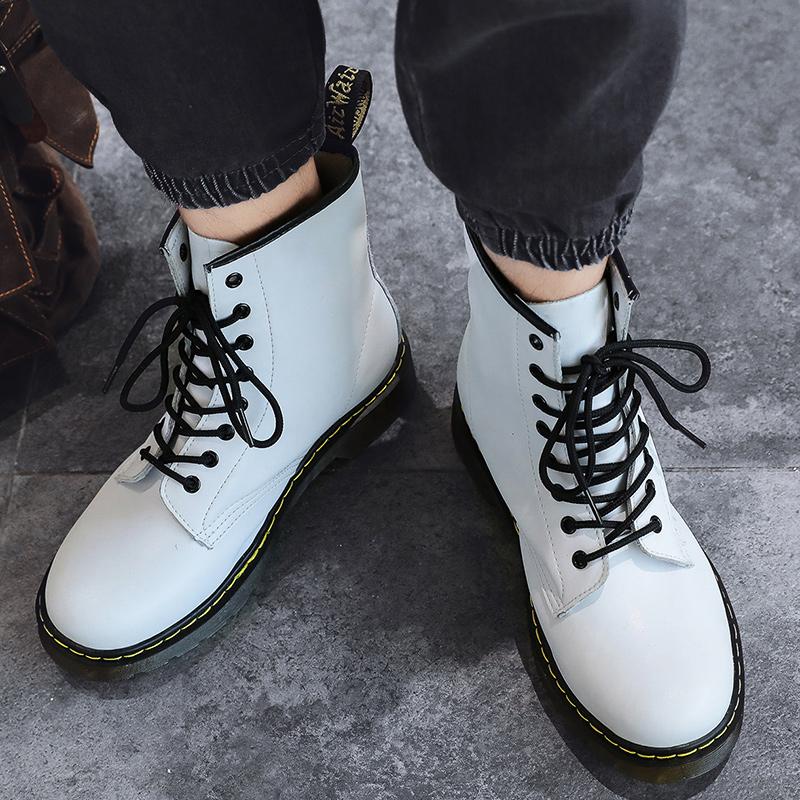 thumbnail 20 - Womens Platform Biker Boots Comfy Black Leather Punk Goth Thick Sole Ankle Shoes
