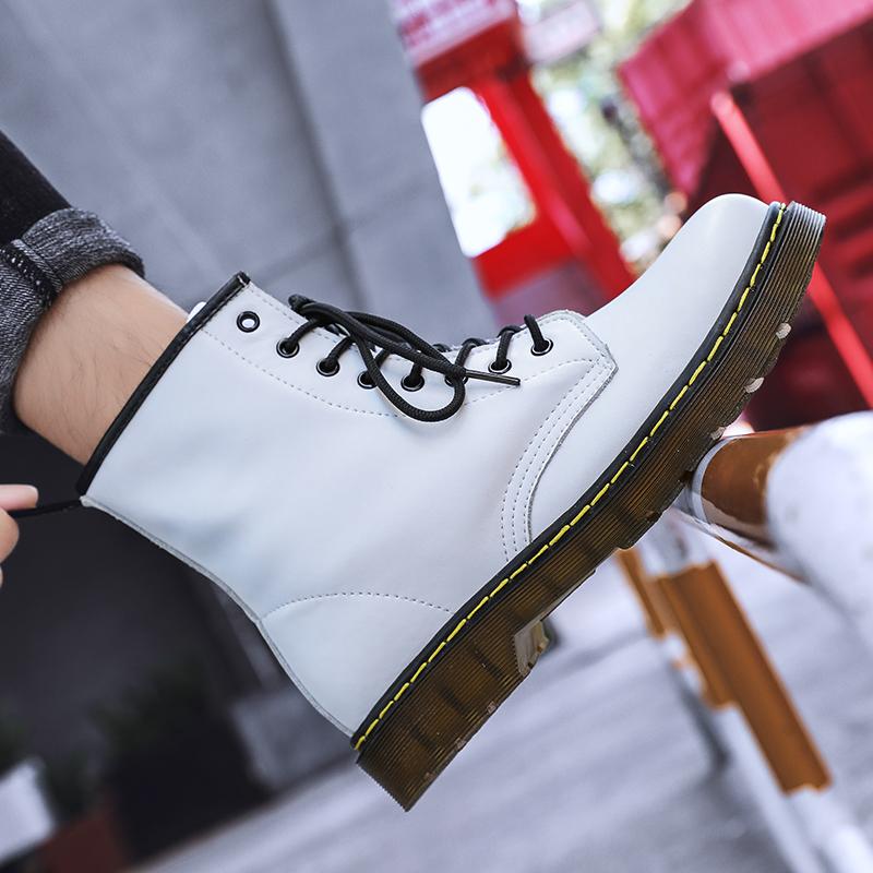 thumbnail 22 - Womens Platform Biker Boots Comfy Black Leather Punk Goth Thick Sole Ankle Shoes