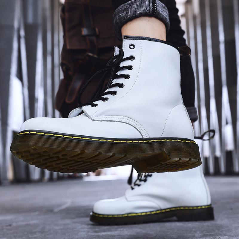 thumbnail 23 - Womens Platform Biker Boots Comfy Black Leather Punk Goth Thick Sole Ankle Shoes