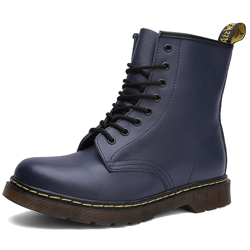 thumbnail 28 - Womens Platform Biker Boots Comfy Black Leather Punk Goth Thick Sole Ankle Shoes