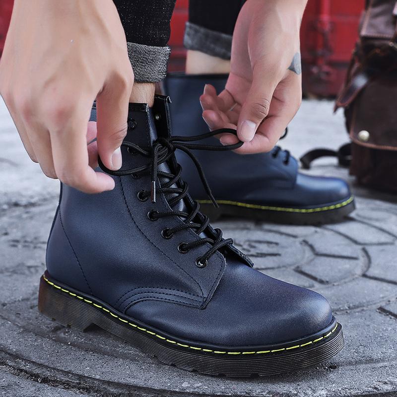 thumbnail 32 - Womens Platform Biker Boots Comfy Black Leather Punk Goth Thick Sole Ankle Shoes