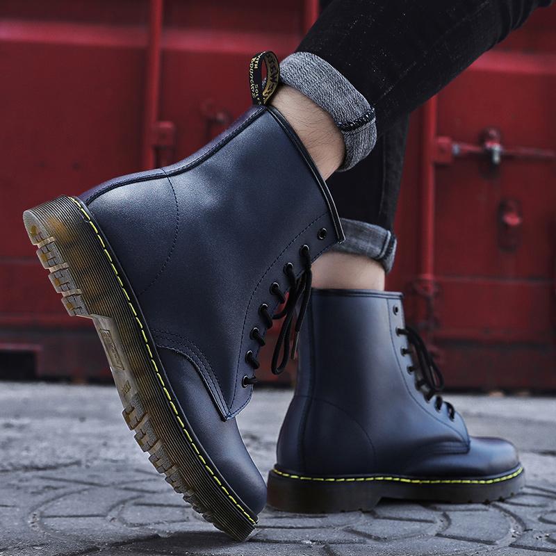 thumbnail 33 - Womens Platform Biker Boots Comfy Black Leather Punk Goth Thick Sole Ankle Shoes