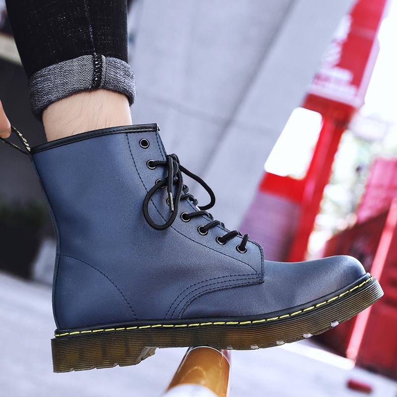 thumbnail 34 - Womens Platform Biker Boots Comfy Black Leather Punk Goth Thick Sole Ankle Shoes