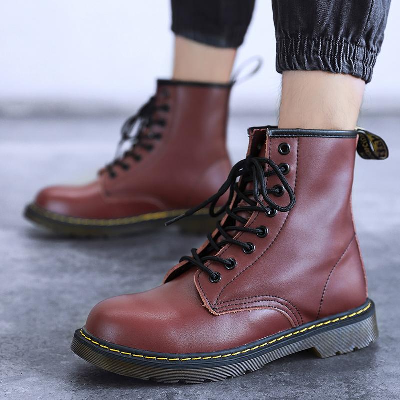 thumbnail 40 - Womens Platform Biker Boots Comfy Black Leather Punk Goth Thick Sole Ankle Shoes