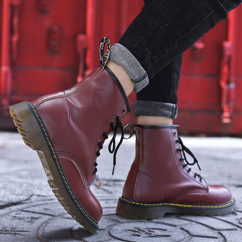 thumbnail 41 - Womens Platform Biker Boots Comfy Black Leather Punk Goth Thick Sole Ankle Shoes