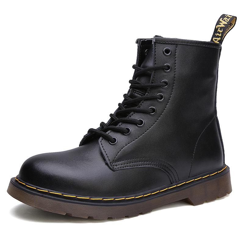 thumbnail 46 - Womens Platform Biker Boots Comfy Black Leather Punk Goth Thick Sole Ankle Shoes