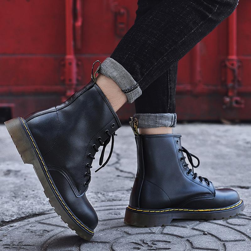 thumbnail 48 - Womens Platform Biker Boots Comfy Black Leather Punk Goth Thick Sole Ankle Shoes